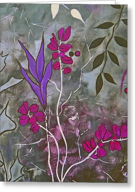 Botanical Mixed Media Greeting Cards - Fuchsia Nights Greeting Card by Ruth Palmer