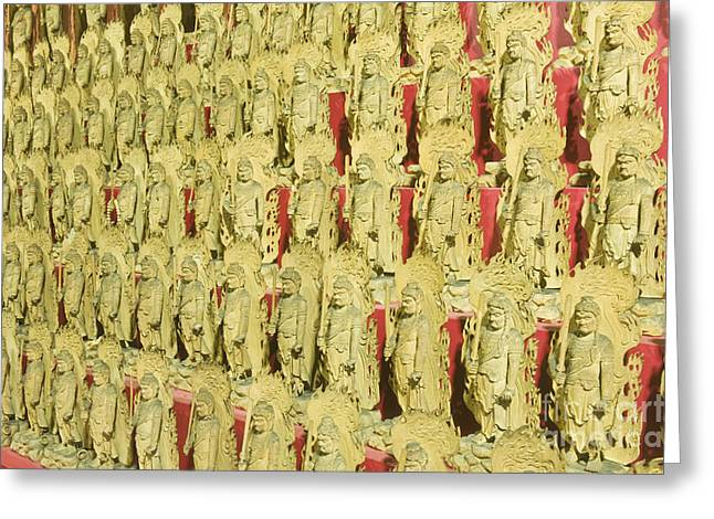 Wooden Sculpture Greeting Cards - Fudo Statues Greeting Card by Rob Tilley
