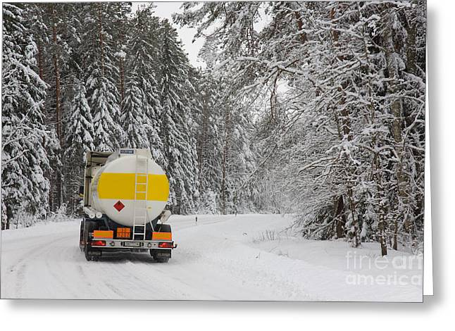 Snow Covered Street Greeting Cards - Fuel Tanker Truck Greeting Card by Jaak Nilson
