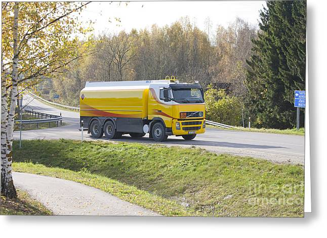 Driving Greeting Cards - Fuel Truck Transporting Gas Greeting Card by Jaak Nilson