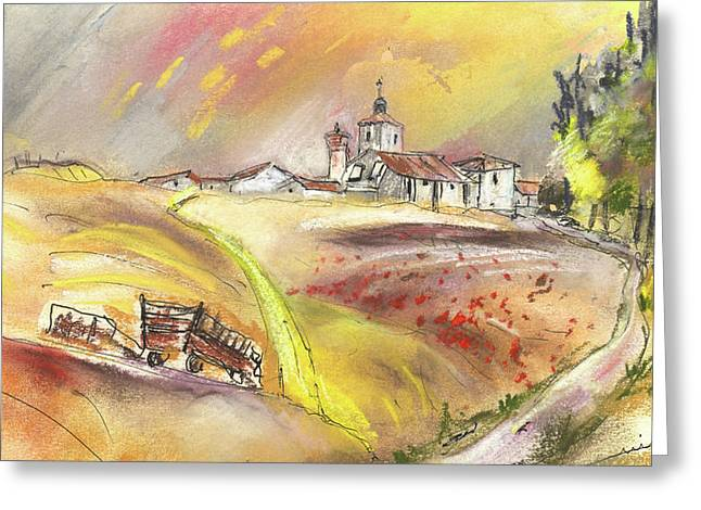 Townscape Drawings Greeting Cards - Fuente del Cuellar in Spain Greeting Card by Miki De Goodaboom