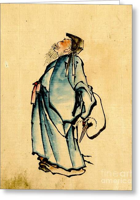 Sketchbook Photographs Greeting Cards - Fukurokuju God of Wisdom 1840 Greeting Card by Padre Art
