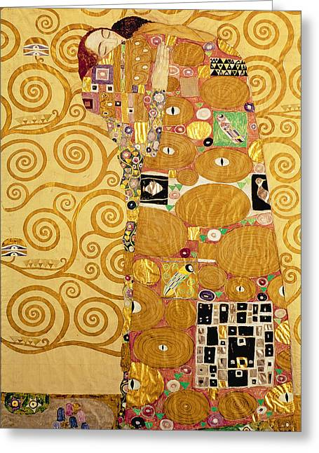 Kiss Greeting Cards - Fulfilment Stoclet Frieze Greeting Card by Gustav Klimt