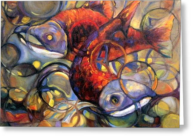 Salmon Paintings Greeting Cards - Full Circle Greeting Card by Peggy Wilson