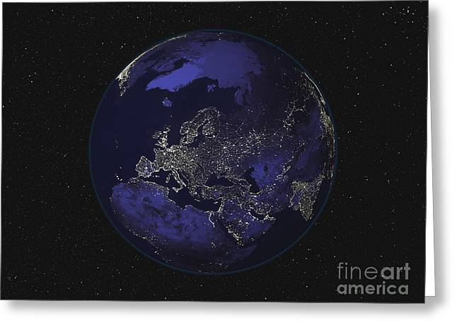 Terra Colors Greeting Cards - Full Earth At Night Showing City Lights Greeting Card by Stocktrek Images