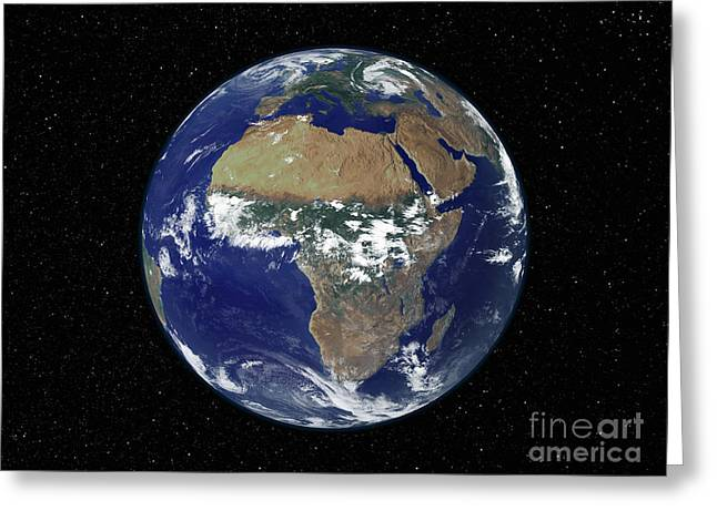 Full Earth Showing Africa And Europe Greeting Card by Stocktrek Images