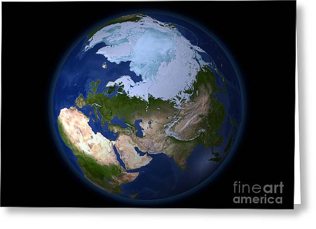 Terrestrial Sphere Greeting Cards - Full Earth Showing The Arctic Region Greeting Card by Stocktrek Images