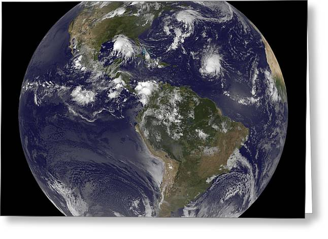 Western Hemisphere Greeting Cards - Full Earth Showing Tropical Storms Greeting Card by Stocktrek Images