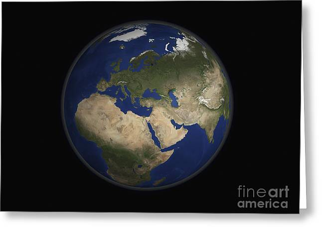 Full Earth View Showing Africa, Europe Greeting Card by Stocktrek Images