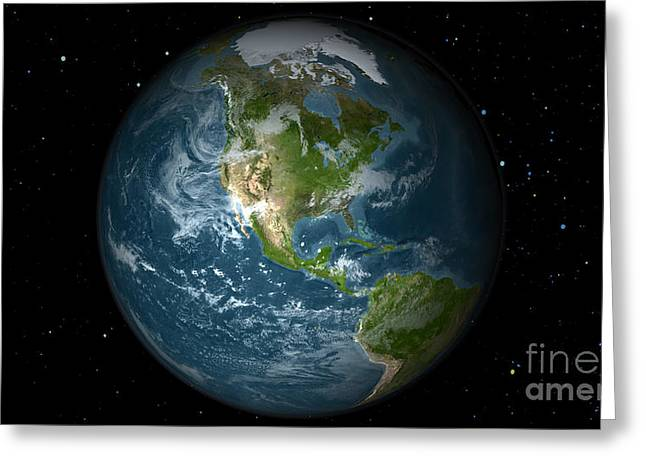 Full Earth View Showing North America Greeting Card by Stocktrek Images