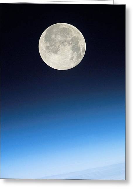 24th Greeting Cards - Full Moon Above Earth, From The Iss Greeting Card by Nasa