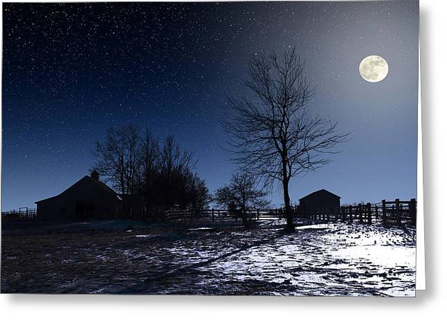 Composite Photo Greeting Cards - Full Moon and Farm Greeting Card by Larry Landolfi