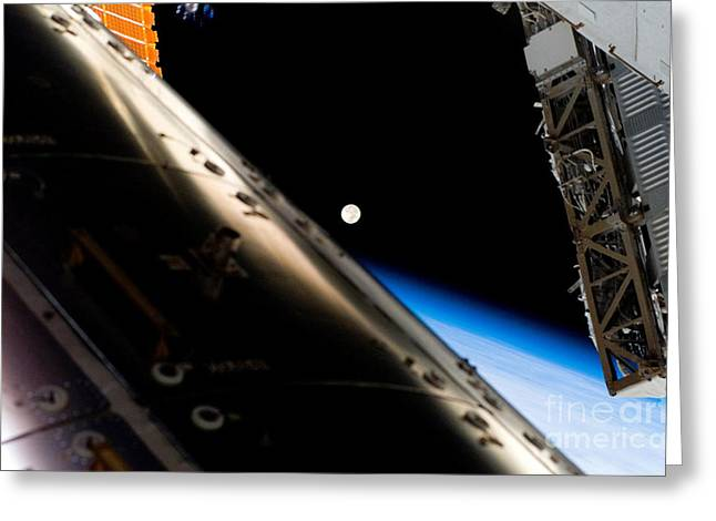 Iss Greeting Cards - Full Moon As Seen From Iss Greeting Card by Nasa