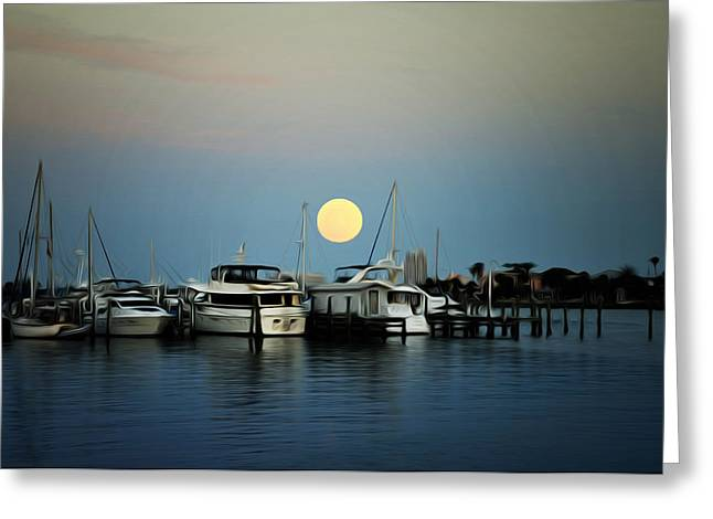 Boats At Dock Greeting Cards - Full Moon at Clearwater Marina Greeting Card by Bill Cannon