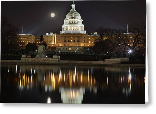 Full Moon at the US Capitol Greeting Card by Metro DC Photography