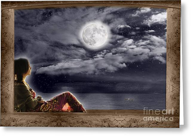 Full Moon Beauty Greeting Card by Leanne M Williams