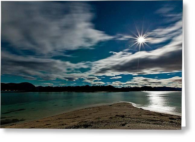 Sortland Greeting Cards - Full moon Greeting Card by Frank Olsen