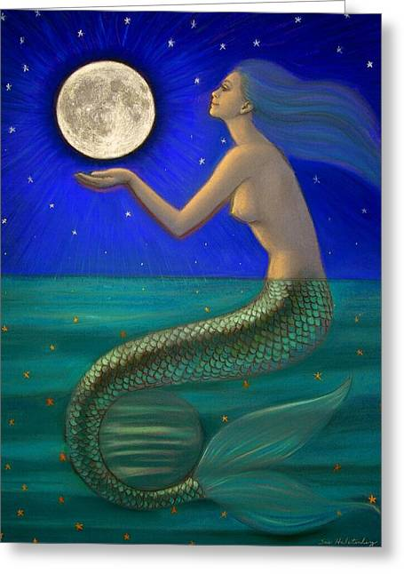 Goddess Pastels Greeting Cards - Full Moon Mermaid Greeting Card by Sue Halstenberg