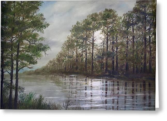 Recently Sold -  - Reflections Of Trees In River Greeting Cards - Full Moon on the River Greeting Card by Kathleen McDermott
