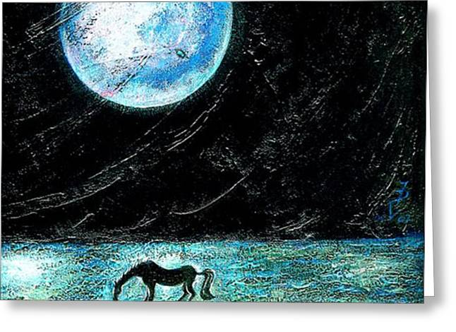 Full Moon on the Seashore Greeting Card by Ion vincent DAnu