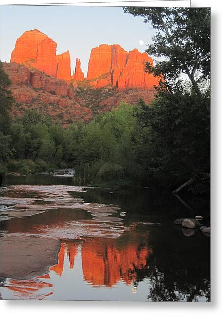 Oak Creek Greeting Cards - Full Moon Over Cathedral Rock Greeting Card by Sandy Tracey