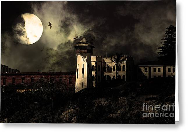 San Rafael Greeting Cards - Full Moon Over Hard Time - San Quentin California State Prison - 7D18546 - Partial Sepia Greeting Card by Wingsdomain Art and Photography