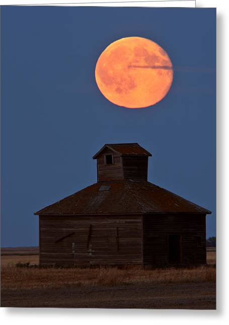 Old Barns Greeting Cards - Full moon over old Saskatchewan barn Greeting Card by Mark Duffy