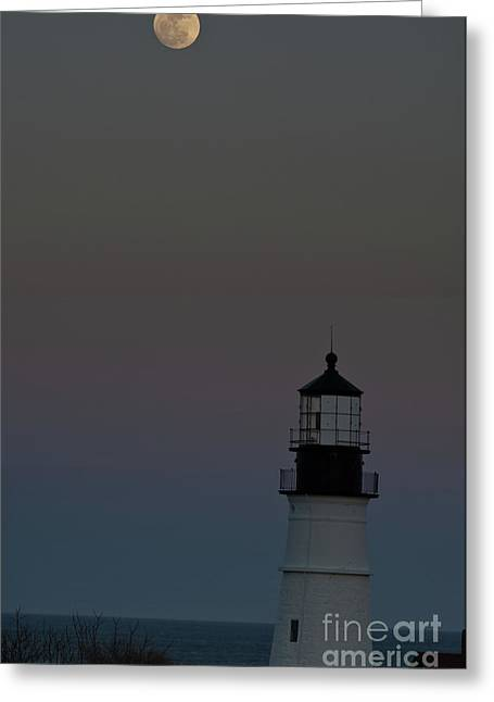 New England Ocean Greeting Cards - Full Moon over Portland Headlight. Greeting Card by David Bishop