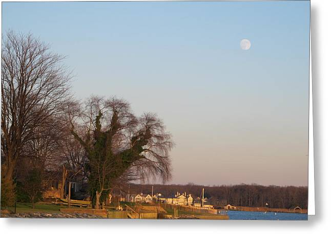 Dusk Pyrography Greeting Cards - Full Moon Over South River Annapolis Greeting Card by Valia Bradshaw