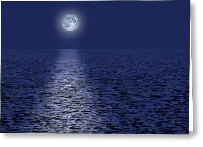 Reflecting Water Greeting Cards - Full Moon Over the Ocean Greeting Card by Utah Images