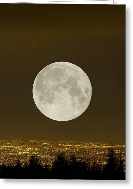 North Vancouver Greeting Cards - Full Moon Over Vancouver Greeting Card by David Nunuk