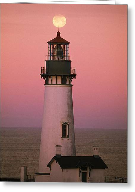 Evening Scenes Greeting Cards - Full Moon Over Yaquina Head Light Greeting Card by Natural Selection Craig Tuttle