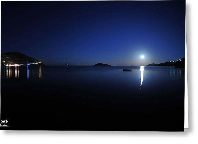 Sea Moon Full Moon Greeting Cards - Full moon rise in Greece Greeting Card by Manos Maleas
