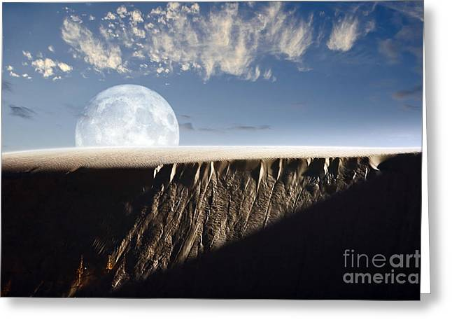 Overhang Digital Art Greeting Cards - Full Moon Rising Above A Sand Dune Greeting Card by Roth Ritter