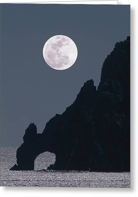 Sea Moon Full Moon Greeting Cards - Full Moon Rising Over A Coastal Cliff Greeting Card by David Nunuk