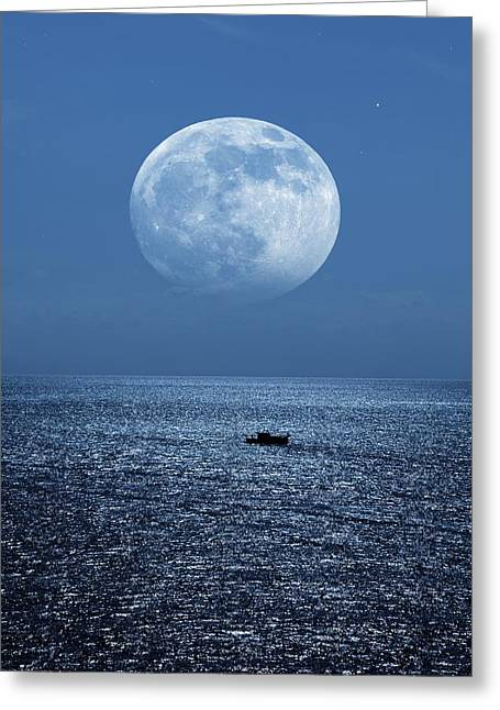 Sea Moon Full Moon Greeting Cards - Full Moon Rising Over The Sea Greeting Card by Detlev Van Ravenswaay