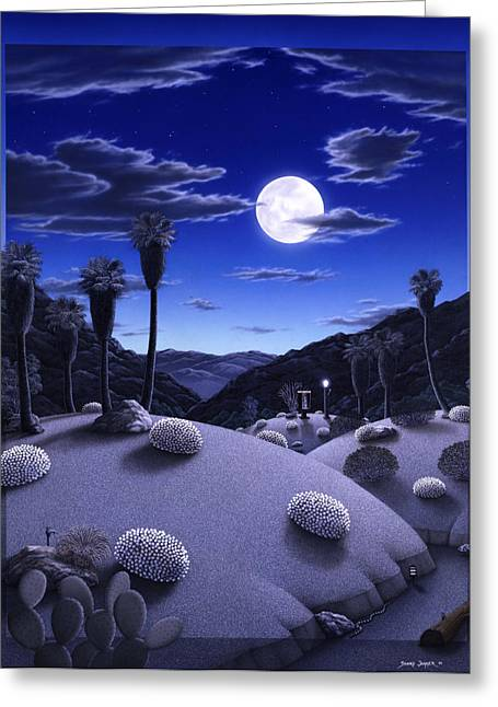 Desert Paintings Greeting Cards - Full Moon Rising Greeting Card by Snake Jagger