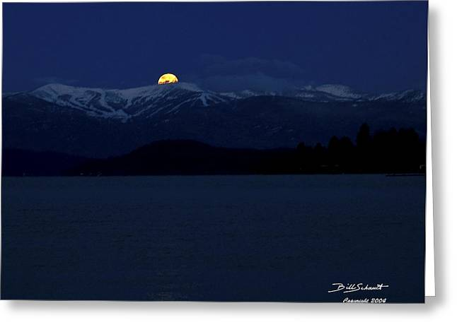 Schweitzer Greeting Cards - Full Moon setting over Schweitzer Ski Resort Greeting Card by Bill Schaudt