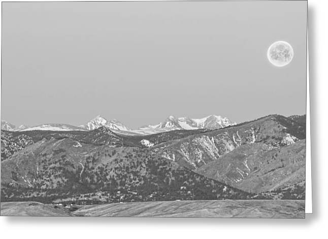 Moon Set Greeting Cards - Full Moon Setting Over The CO Rocky Mountains BW Greeting Card by James BO  Insogna
