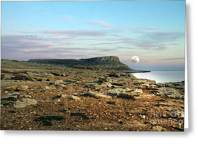 Sea Shore Greeting Cards - Full Moon Greeting Card by Stylianos Kleanthous