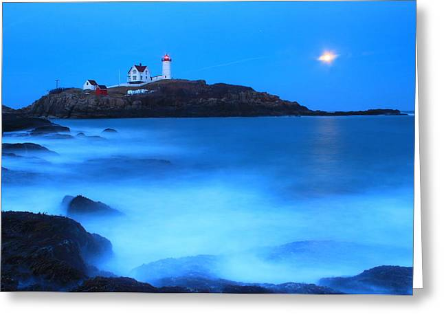 Cape Neddick Lighthouse Greeting Cards - Full Moon Surf Cape Neddick Nubble Lighthouse Greeting Card by John Burk