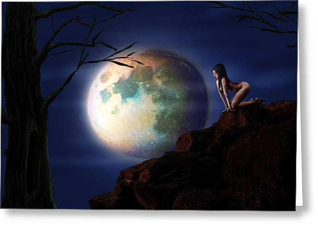 Ilustration Greeting Cards - Full Moon Greeting Card by Virginia Palomeque