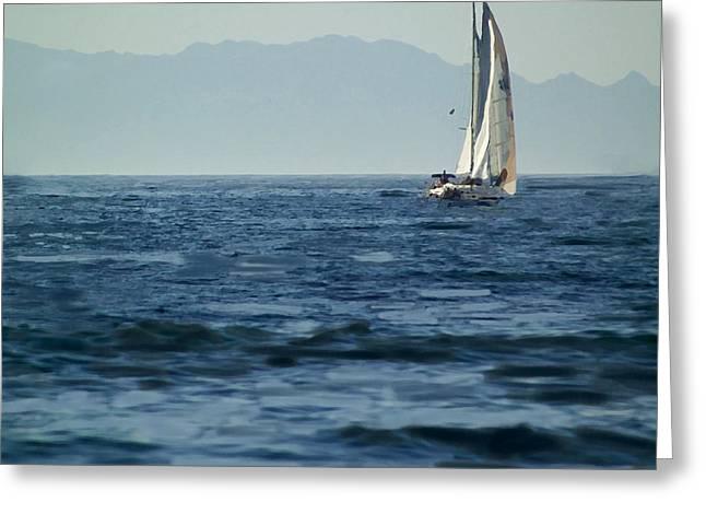 Sailing Boat Digital Art Greeting Cards - Full Sails Greeting Card by Lyle  Huisken