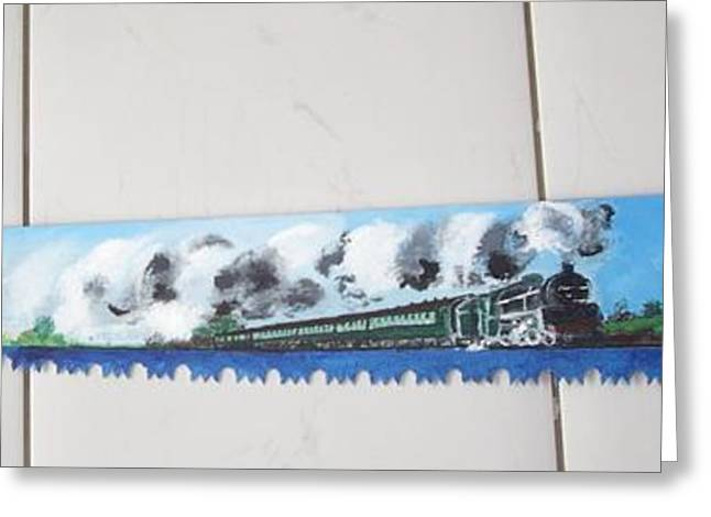 Saw Greeting Cards - Full Steam Greeting Card by Carole Robins