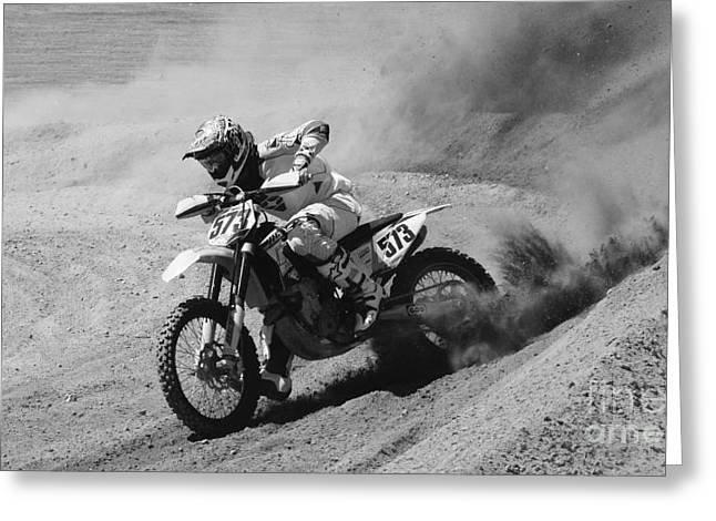 Throttle Greeting Cards - Full Throttle Monochrome Greeting Card by Bob Christopher