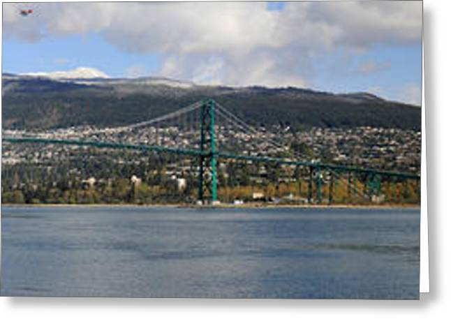 Lions Greeting Cards - Full view of the Lions Gate Bridge Vancouver City  Greeting Card by Pierre Leclerc Photography