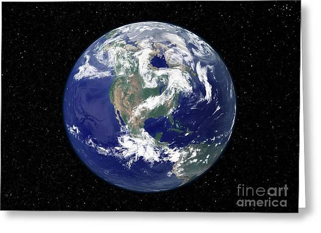 Fully Lit Earth Centered On North Greeting Card by Stocktrek Images