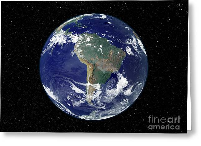 Planet Map Greeting Cards - Fully Lit Earth Centered On South Greeting Card by Stocktrek Images