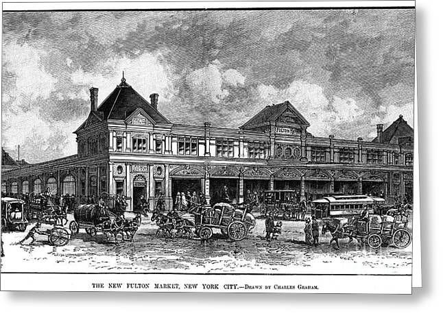 Fish Cart Greeting Cards - Fulton Fish Market, 1882 Greeting Card by Granger