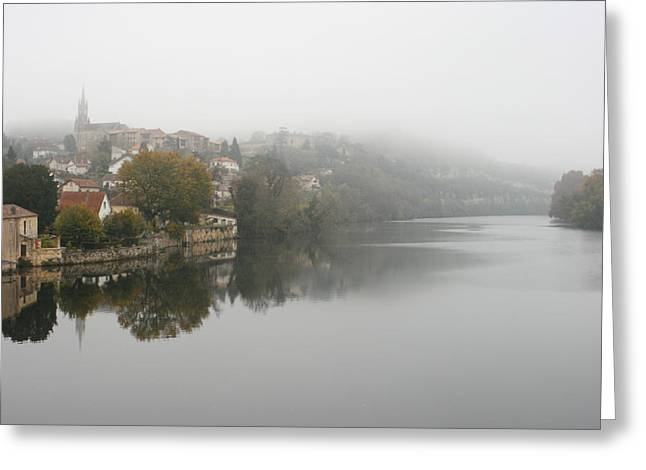 Reflections In River Greeting Cards - Fumel on a misty day Greeting Card by Nomad Art And  Design